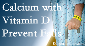 Calcium and vitamin D supplementation may be suggested to Sandy Springs chiropractic patients who are at risk of falling.