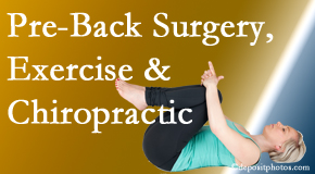 Cross Chiropractic Center offers beneficial pre-back surgery chiropractic care and exercise to physically prepare for and possibly avoid back surgery.