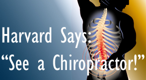 Sandy Springs chiropractic for back pain relief urged by Harvard