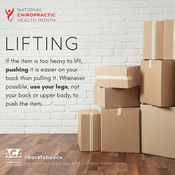 Cross Chiropractic Center advises lifting with your legs.