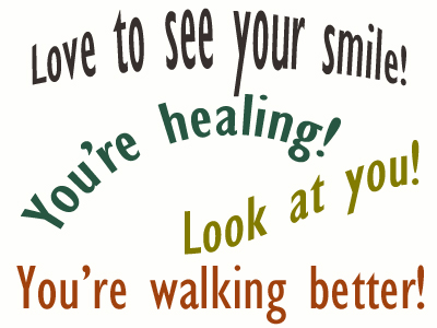 Use positive words to support your Sandy Springs loved one as he/she gets chiropractic care for relief.